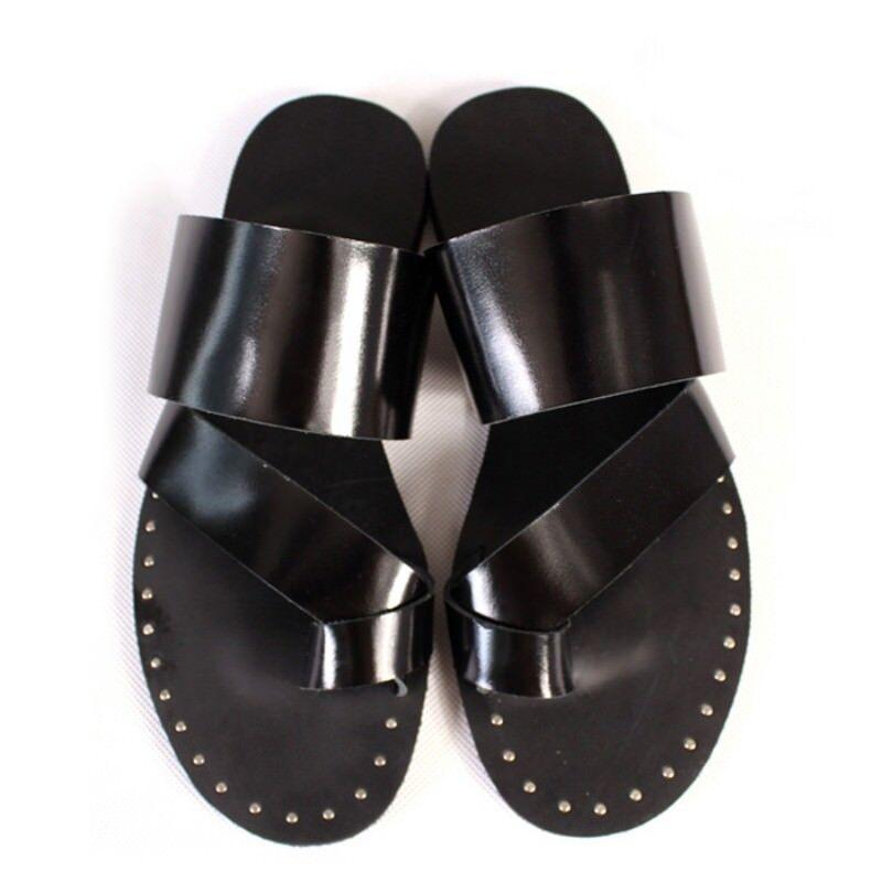 Men Toe Ring Rivet Flat Sandal Slipper  Mules shoes Roman Leather Casual Hot Sz
