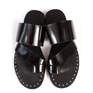 0f8e10d2f6be76 Men Toe Ring Rivet Flat Sandal Slipper fc Mules Shoes Roman Fashion ...