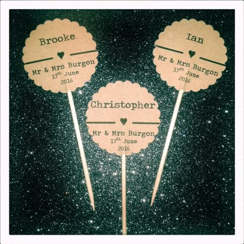 Personalised Wedding Favour Guest Name FLAGS Individual Picks SCALLOPED Circle