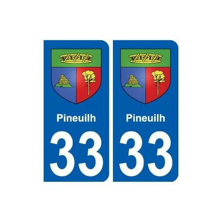 33 Pineuilh blason ville autocollant plaque stickers arrondis