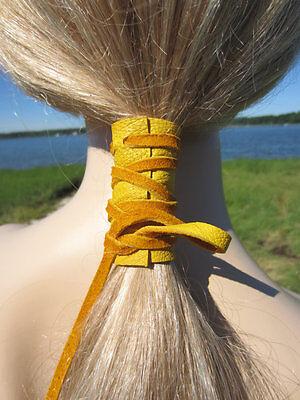 leather chokerbracelet Hair ties leather flowers leather flower hair accessory yellow leather bun holder yellow flower hair tie.
