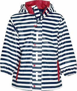 Playshoes Regen-Mantel maritim weiss blau gestreift wasserdicht Polyester