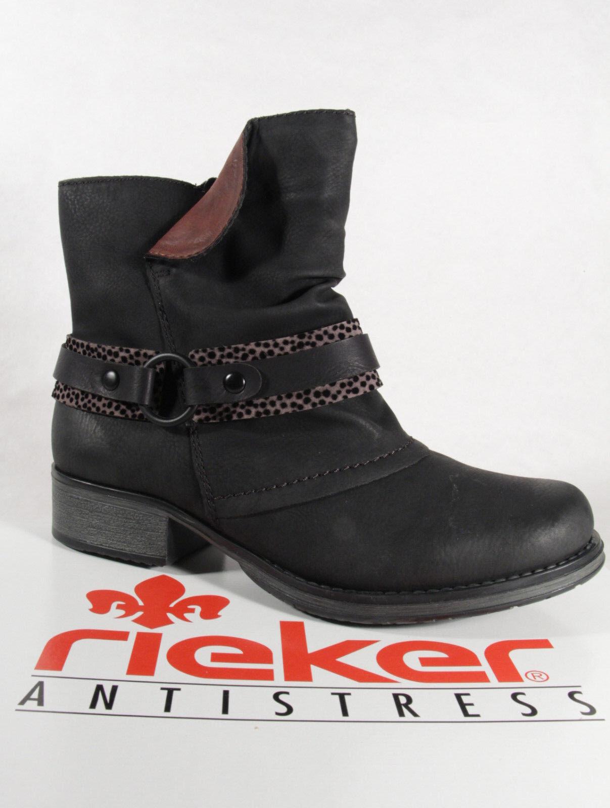 Rieker botas Y9792 botas Botines, botas de Invierno Negras Nueva