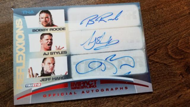 2012 TRISTAR TNA REFLEXXIONS TRIPLE AUTO AJ STYLES JEFF HARDY BOBBY ROODE 25/25