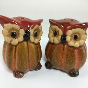 Owls-Birds-Salt-amp-Pepper-Shaker-Set-Ceramic-Brown-Fall-Thanksgiving