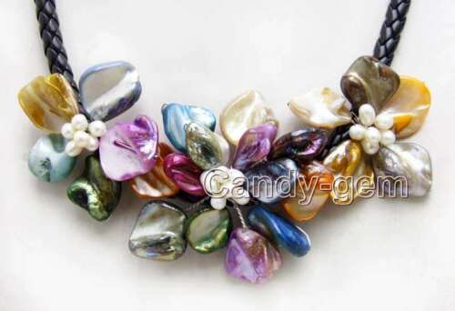Multicolor Baroque Shell Flower /& Pearl Pendant Necklace for Women Chokers 18/'/'