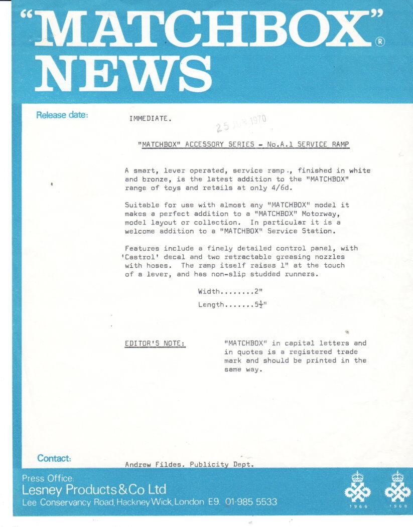 MATCHBOX News juin 1970 a-1c service ramp avec s & w photo