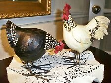COUNTRY STYLE WHITE ROOSTER/BLACK HEN, WOOD-LIKE, HANDPAINTED,STEEL LEGS,NEW!