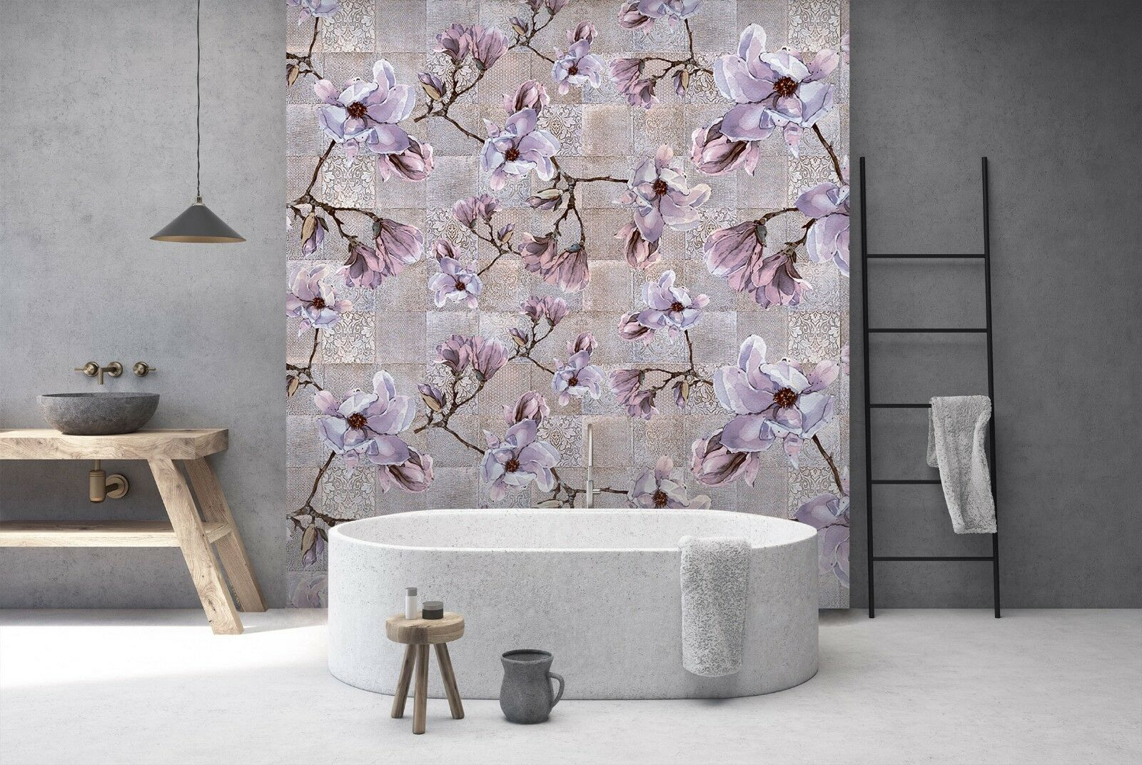 3D lila Flower Square 3 Texture Tiles Marble Wall Paper Decal Wallpaper Mural