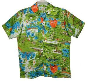 3954650b Sz M Vintage 70's Men's Hawaiian Aloha Shirt WAIKIKI HOLIDAY Poly ...