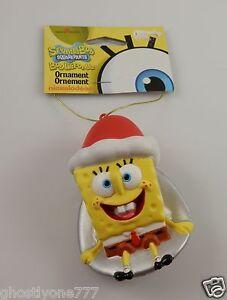 Spongebob-sponge-bob-sledding-sled-wearing-Santa-Hat-Christmas-Ornament-xmas