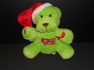 DanDee-Plush-Stuffed-Gummy-Bear-Christmas-Bright-Green-Santa-Hat-Candy-Cane-2010