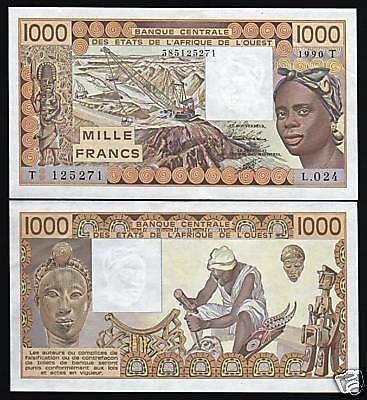 Africa Paper Money: World West African States Togo 1000 P807t 1990 Crane Unc Banknote Currency To Produce An Effect Toward Clear Vision