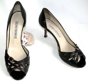 LUCIANO-PADOVAN-Sandales-talons-7-cm-tout-cuir-noir-40-TRES-BON-ETAT
