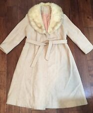 Vintage Wool Coat With Fur Collar Womens