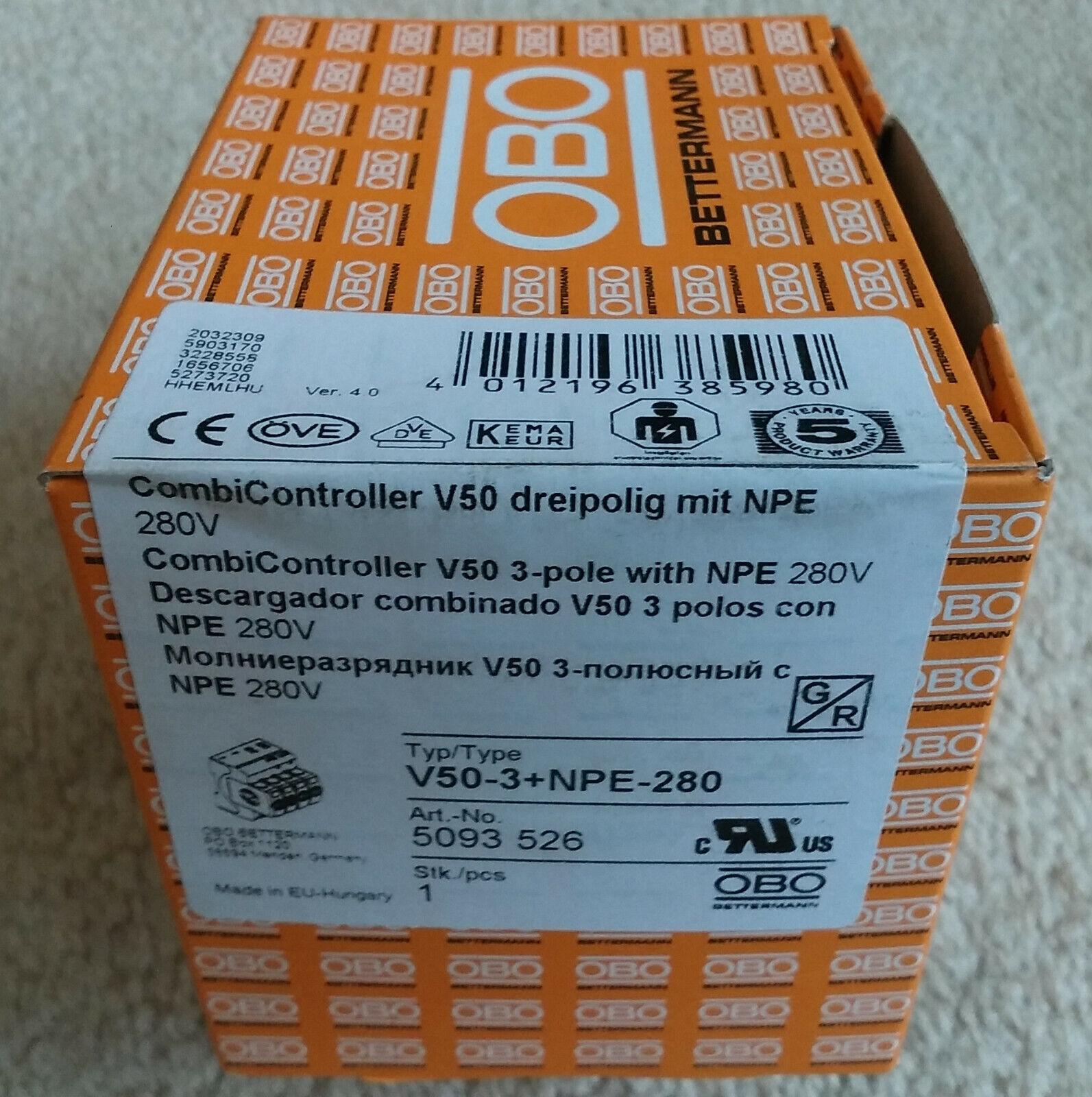 OBO BETTERMAN 5093526 KOMBIABLEITER 1+2 V50 3-POLIG+NPE 280 V