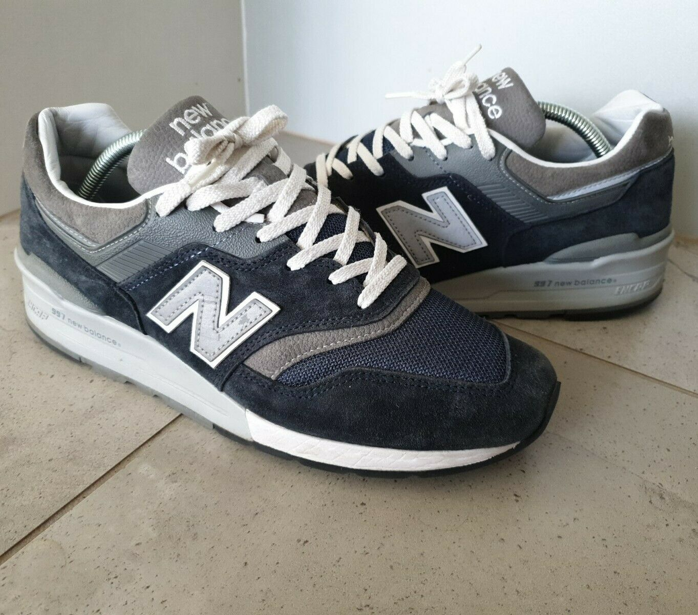 Made in USA New Balance 997 M997NV Kith 9.5 navy gray white 1500 998 9 blue