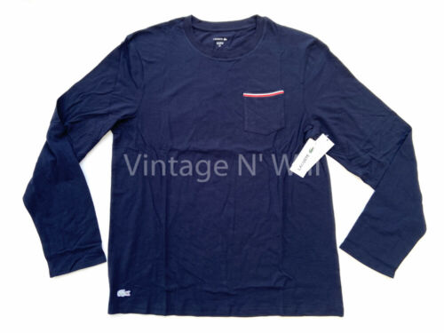 Details about  /Lacoste Sleepwear Mens Navy// White Alligator Logo Stretch Lounge Pocket T-Shirt