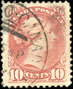 Used-Canada-VF-Scott-40-10c-1877-Small-Queen-Issue-Stamp
