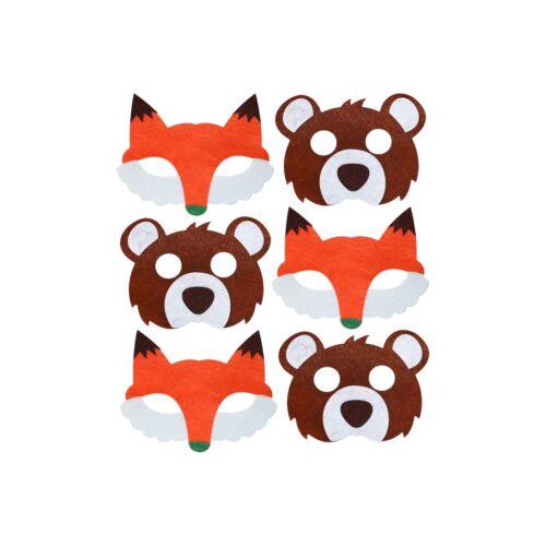 Bear /& Fantastic Fox Felt Book Day Animal Eye Masks for Kids Fancy Dress Party