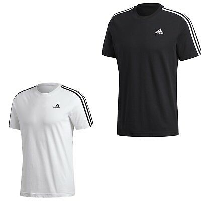 adidas Herren 3 Streifen T Shirt Tee Herren Männer schwarz weiss S XXL Baumwolle | eBay