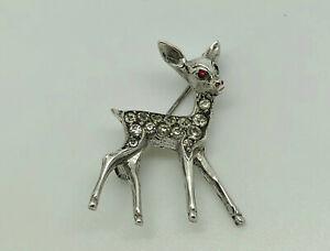 Gorgeous-Antique-Art-Deco-Silver-Tone-Diamond-Paste-Bambi-Deer-Brooch