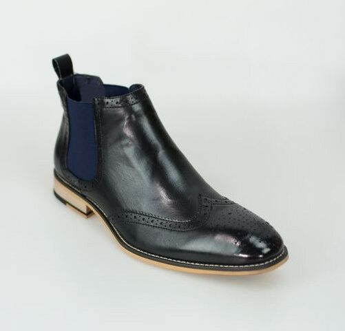 3df851c0078 Cavani Mens Chelsea Boots Hound Leather Look Slip On Classic MOD shoes