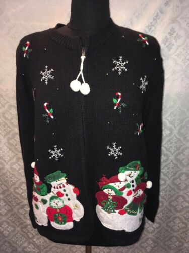 Cardigan Clair Snowman brutto Carly con Christmas cerniera Women Cute Snow Maglione St Xl YwqZwSH