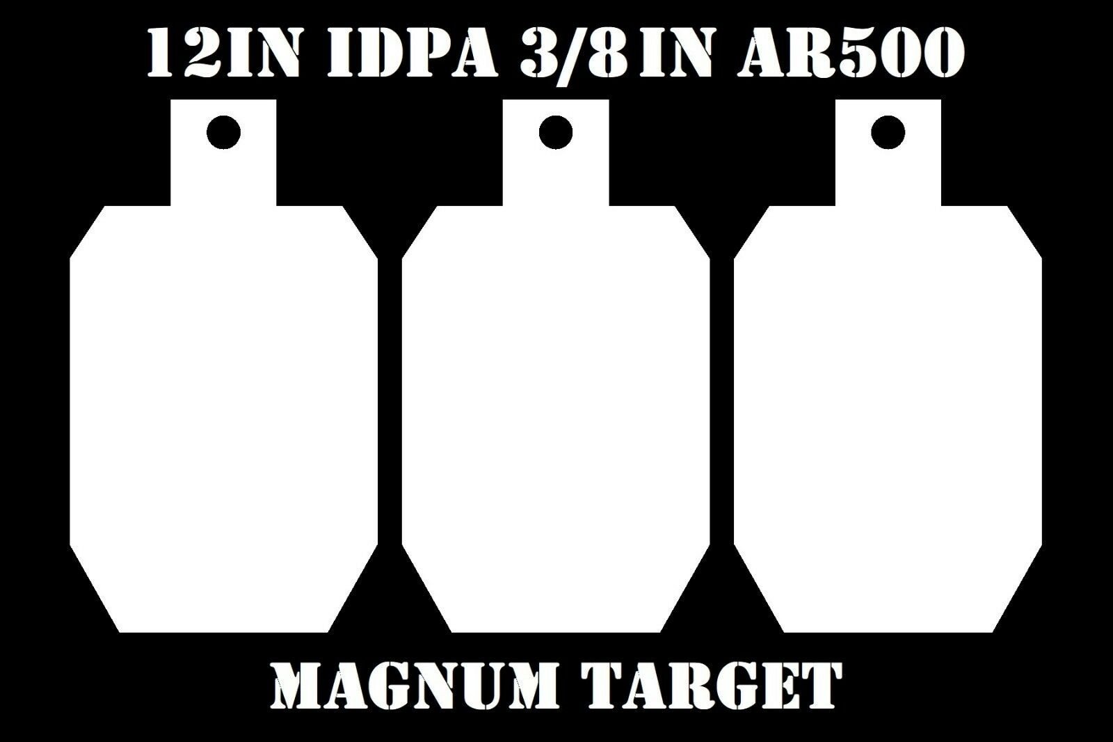 12in.Tall IDPA ISPC Steel Targets - 3 8in. AR500 Targets - 3pc. Metal Gong Set