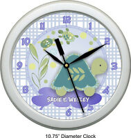 Personalized Turtle Reef Wall Clock Nursey Decor Shower Gift