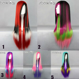 Stylish-75cm-Straight-Long-Mixed-Multi-Color-Cosplay-Hair-Lolita-Style-Wig