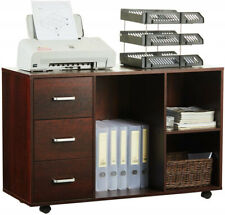 Rolling Wood File Cabinet Mobile Storage Filing Cabinet 3 Drawers Cherry Red Us