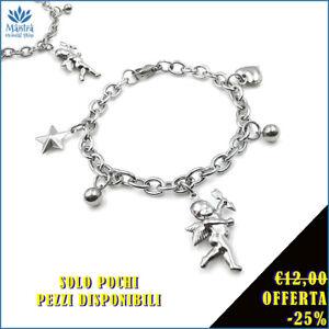 Bracciale da donna braccialetto con angelo cherubini catena maglia in acciaio a