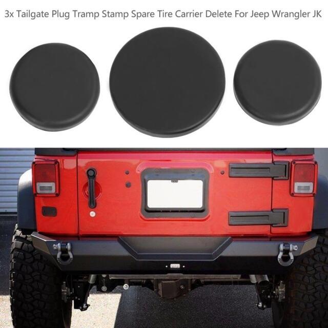 3pcs Tailgate Plug Set Spare Tire Carrier Delete for Jeep Wrangler JK 07-18