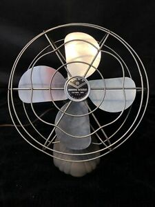 Vintage-Manning-Bowman-Model-40-Table-Fan-Bullet-Back-Cast-Iron-11-5-034-Cage-Works