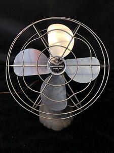 """Vintage Manning Bowman Model 40 Table Fan Bullet Back Cast Iron 11.5"""" Cage Works"""
