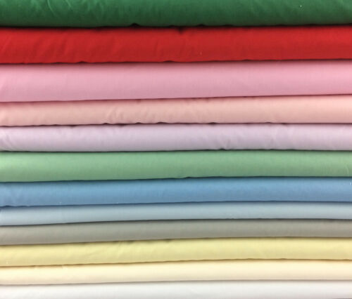 green pink Plain Cotton Fabric lilac grey mid weight red blue