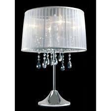 Hockerleuchte Kristallglas Tischleuchte Kristall Tischlampe Dimmbar Organza