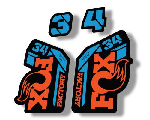 FOX 34 2021 Factory Forks Suspension Decals Sticker Adhesive Set Orange Blue