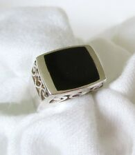 Onyx Square Shape Bead Set on Filigree Base 925 Silver Ring.  Ladies Size 7   NW