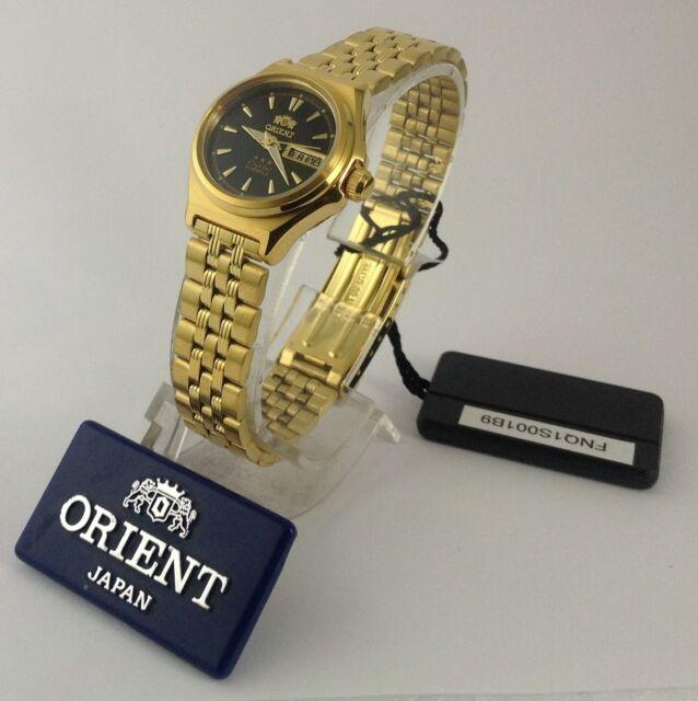 Orient Fnq1s001b Women's 3 Star Standard Gold Tone Black Dial Automatic  Watch