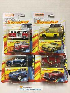 4-Car-Set-BLUE-2019-Matchbox-50th-Ann-Superfast-VW-Rover-Mercedes-Honda