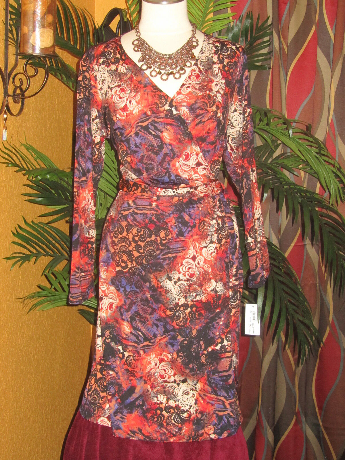NY COLLECTION NWT 1X  70 womens womens womens dress disco red tie on side disco wrap around 9395fa