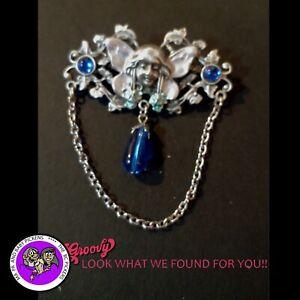034-JJ-034-Jonette-Jewelry-Silver-Pewter-039-Fairy-Wings-Flowers-Blue-Gem-Stones-039-PIN