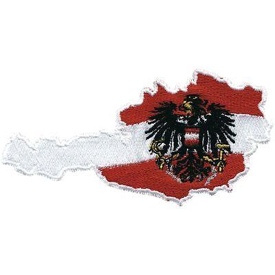 Aufnaeher Patches Applikation 10,5 x 5 cm Flagge Wappen Oesterreich 00332