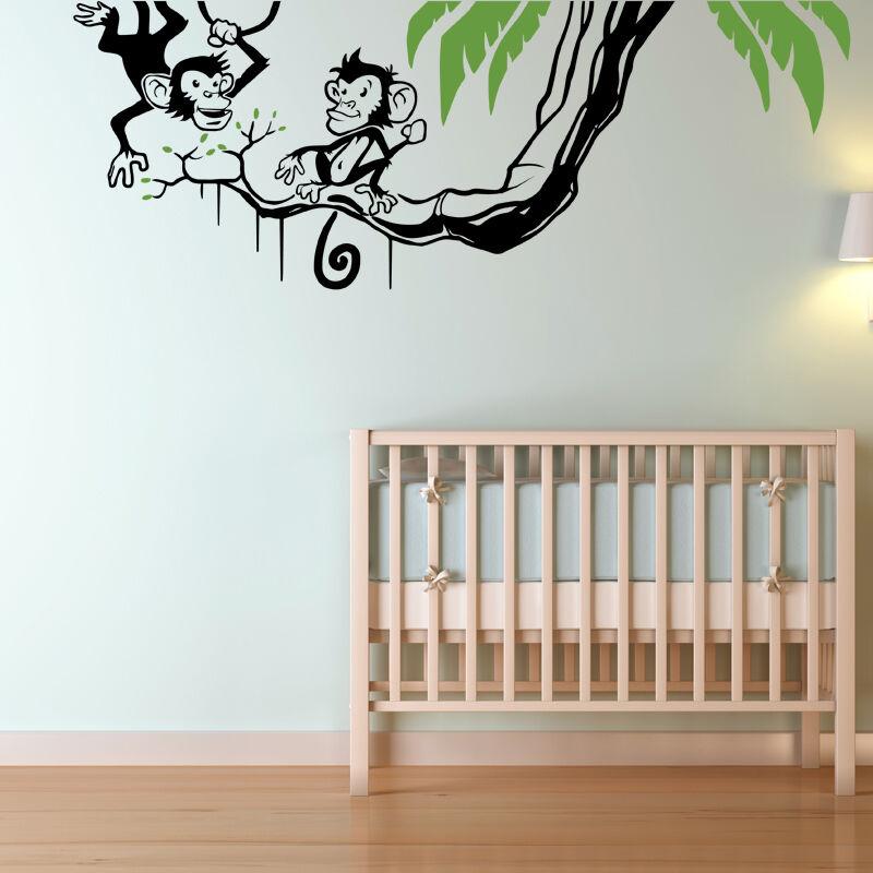 Adesivo Parete Oscillante Scimmie Art Decalcomania Foresta Foresta Foresta Giungla Tema Camera da letto per bambini w212 8f69fa