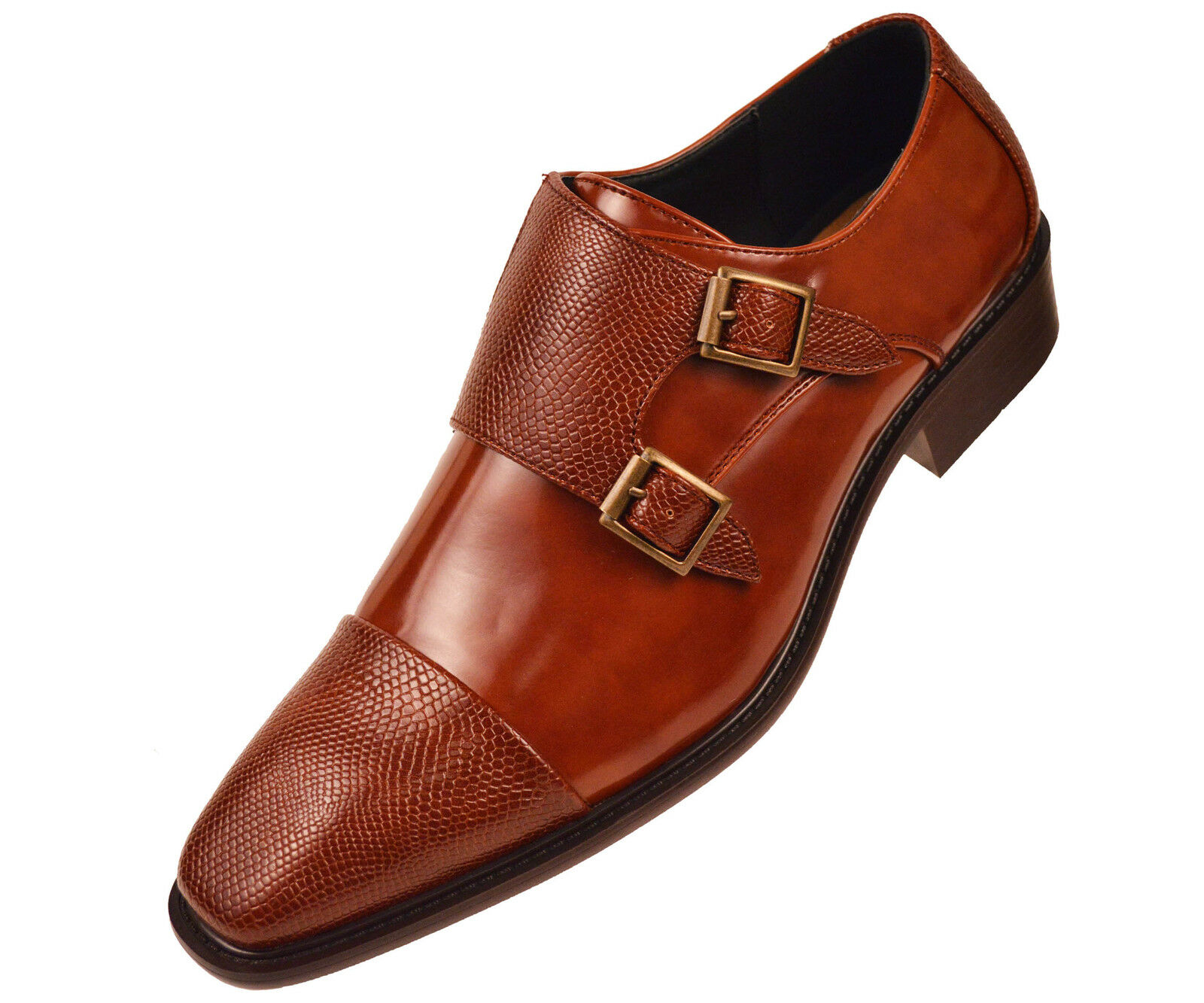 Bolano Uomo Cognac Brown Double Monk Strap Dress Shoe Pebble Emboss Bancroft-215