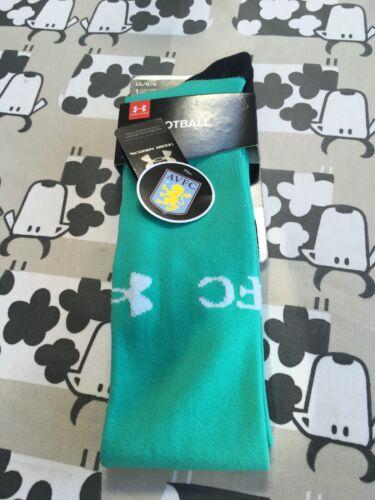 Joblots 10 Aston Villa Football Vert Chaussettes Grand Homme Under Armour BNWT UK9-12.5