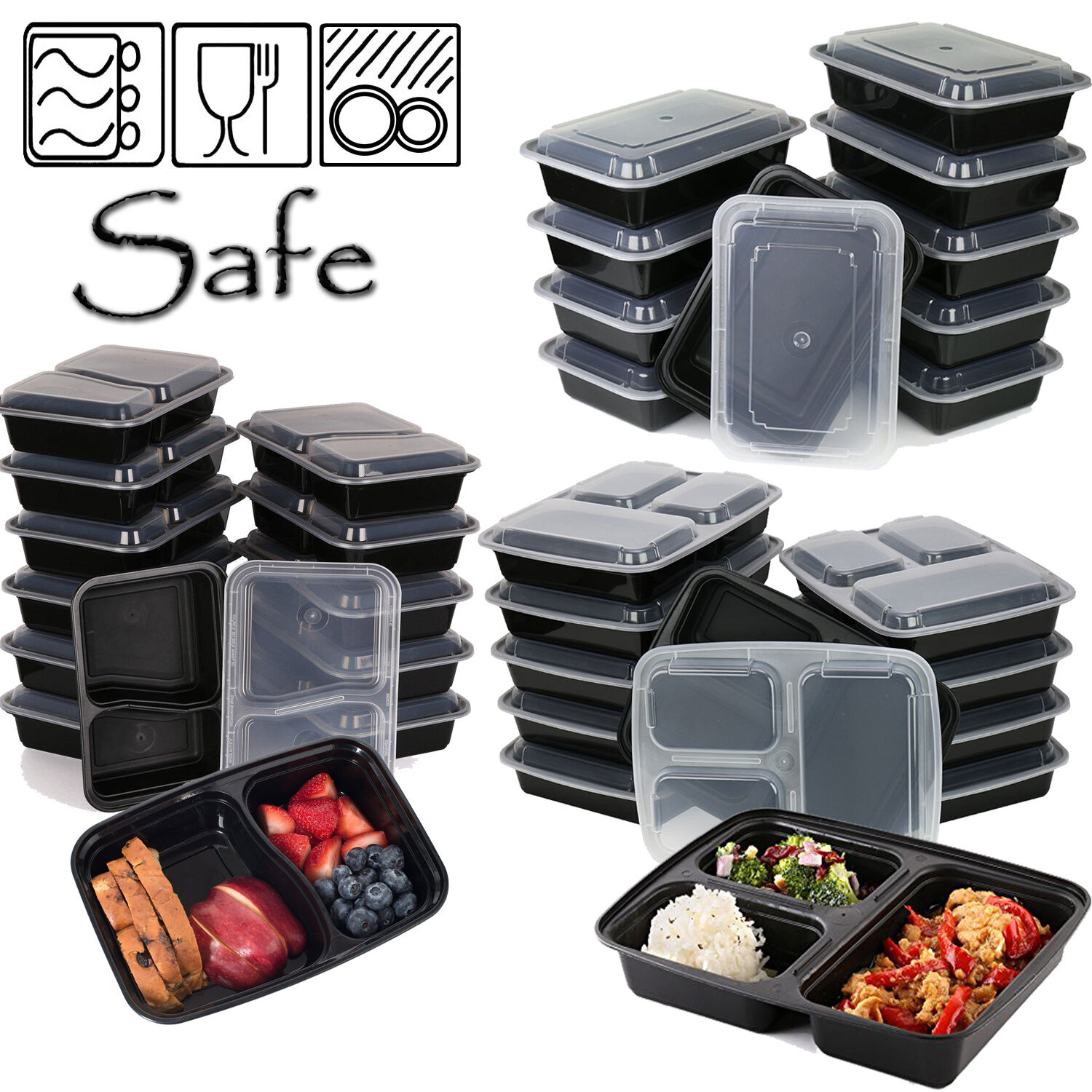10 meal prep food containers 1 2 3 compartment bpa free plastic lunch box lids ebay. Black Bedroom Furniture Sets. Home Design Ideas