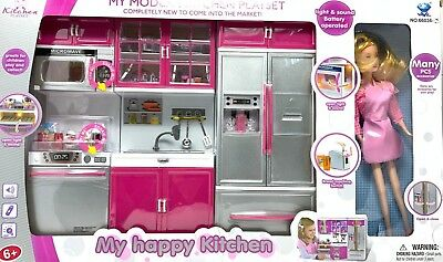 Modern Kitchen Battery Operated Toy Kitchen Playset Perfect For 11 5 Tall Doll Ebay